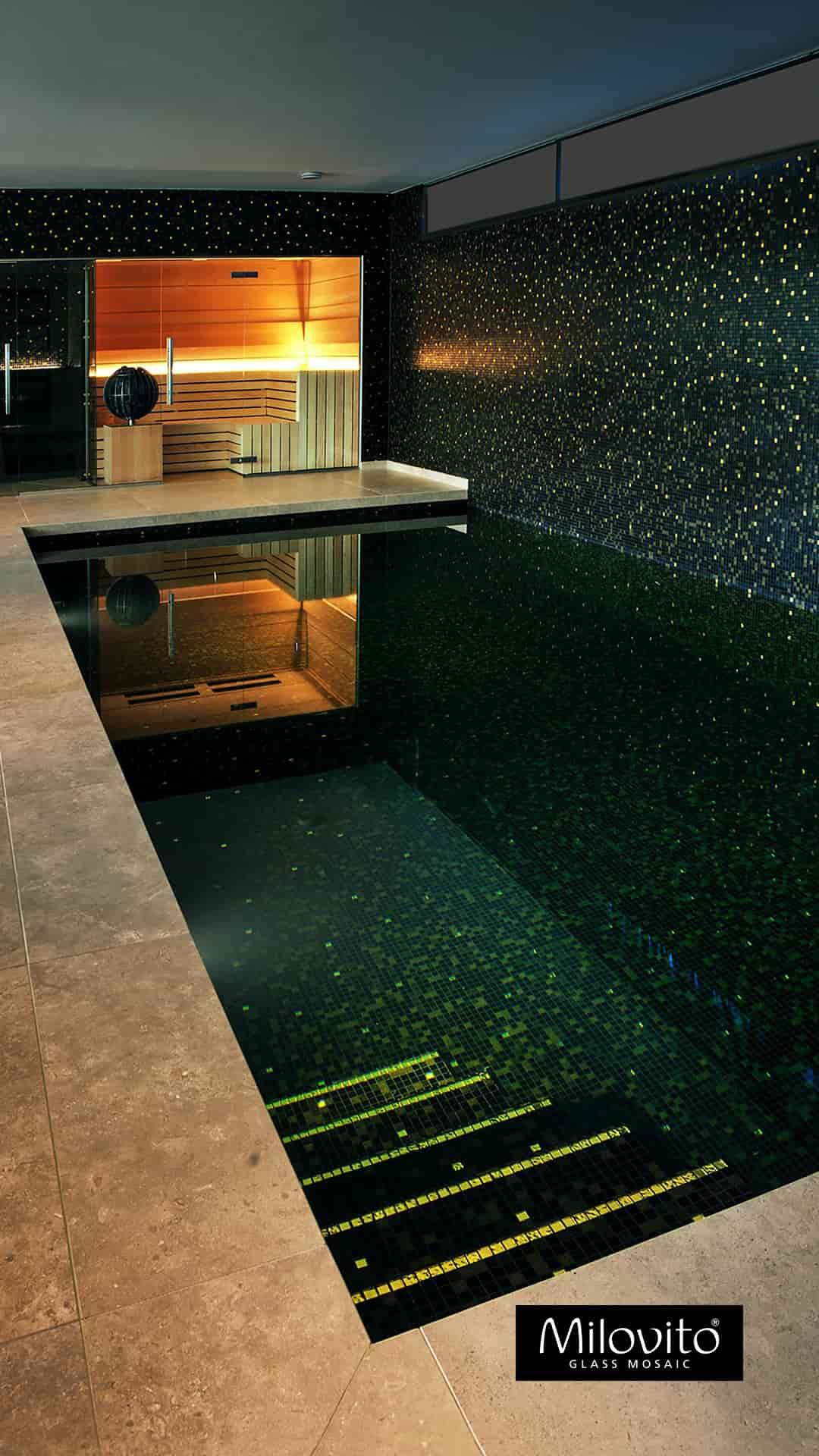 glass mosaic swimming pool black gold mosaic